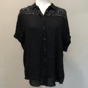 Express Black Stud Shoulders Button Down Top Small
